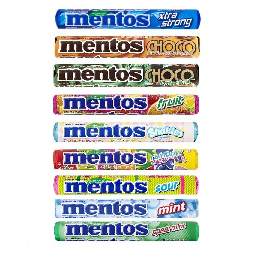 5 x Mentos Rolls Chewy Dragees Sweets Candy Sweets 38g - Assorted Flavours